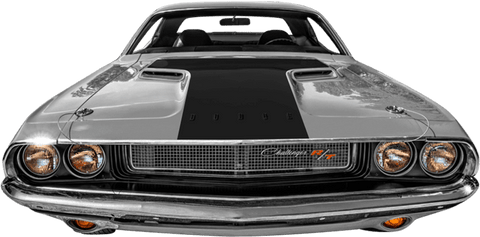 Dodge Challenger 1970 Hood Blackout / T-Hood Decal on Vehicle