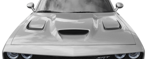 Dodge Challenger 2015 SRT Hellcat Hood Vent Accent Stripes on Vehicle