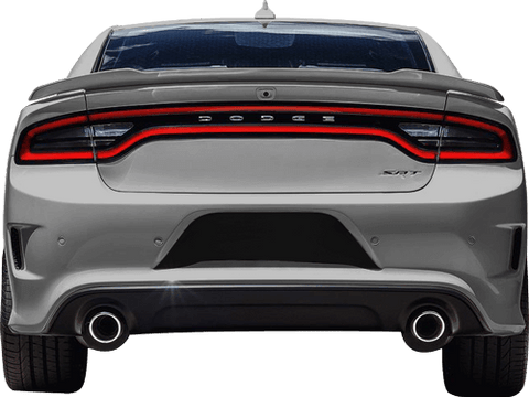 Dodge Charger 2015 Rear License Plate Blackout Accents on Vehicle