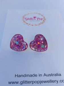 Glitter in silver setting ( hearts )