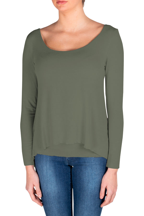 Army Green Via Strozzi Signature Top