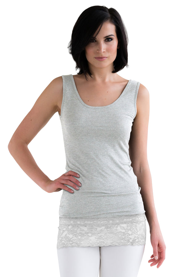 L and XL Light Grey Lace Tank Tops