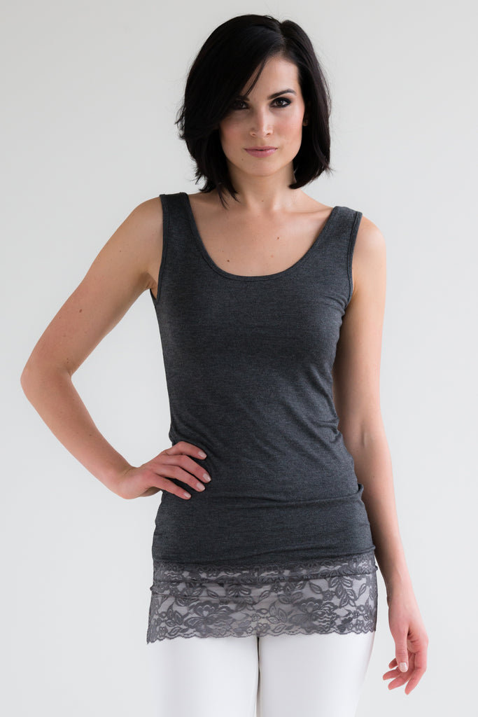 Dark Grey Lace Tank Top
