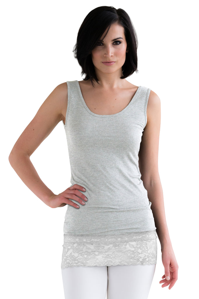 Light Grey Lace Tank Top