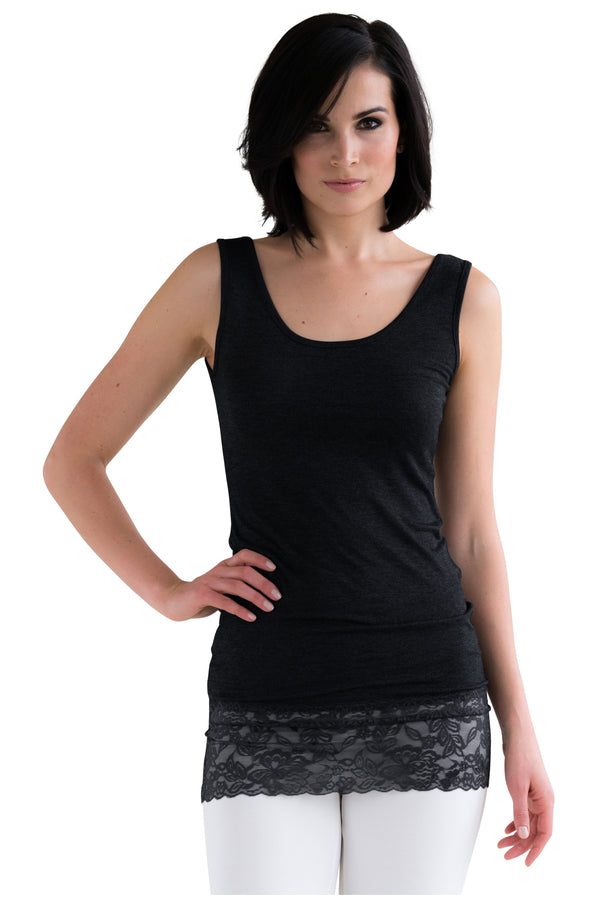 L and XL Black Lace Tank Top