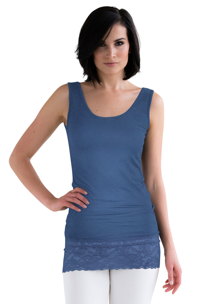 Indigo Lace Tank Top