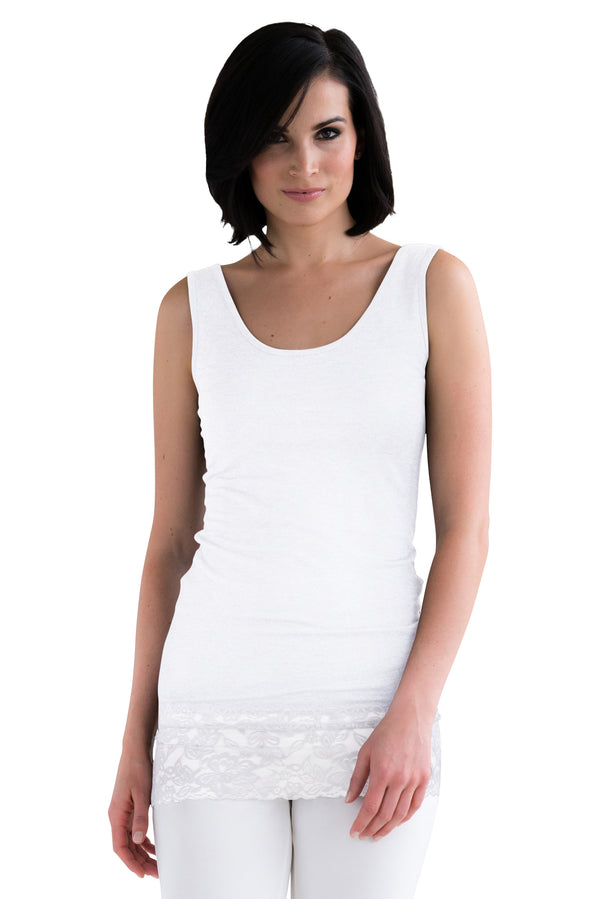 L and XL White Lace Tank Top