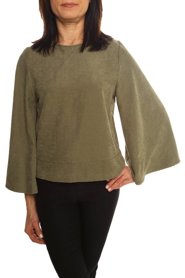 Green Bell Sleeve Top