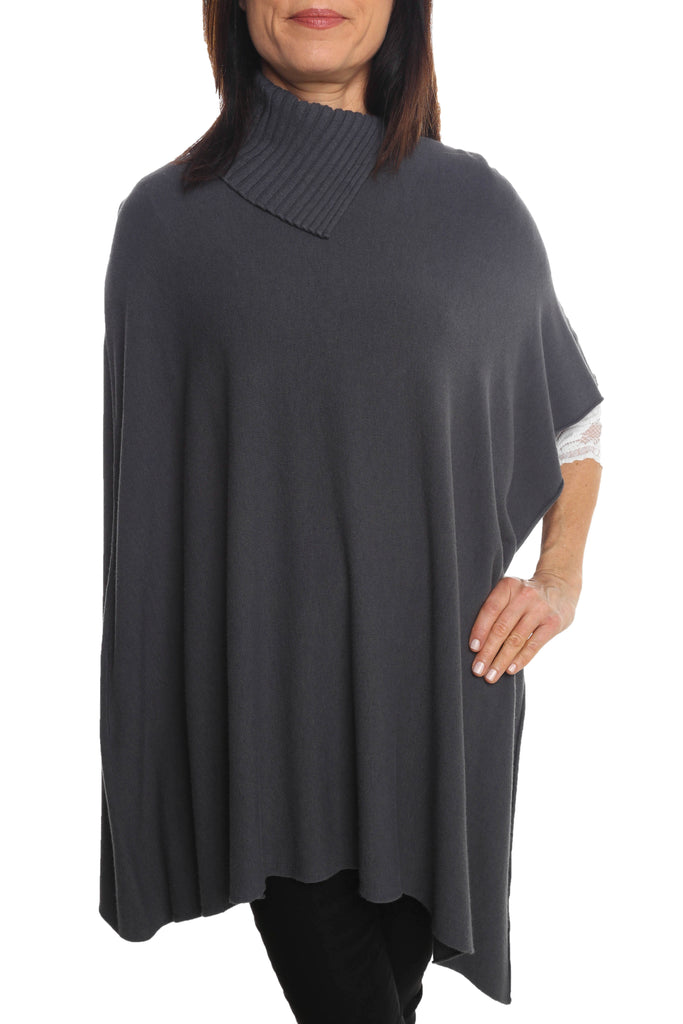 Turtleneck Grey Poncho