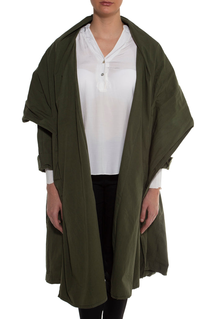 Green Zipper Trench Coat