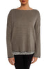 Grey and Beige Zipper Back Sweater