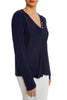 Navy Satin Henley