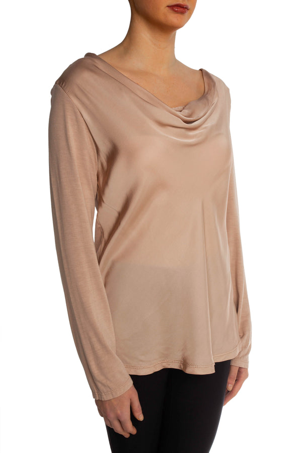 Pink Satin Scoop Neck