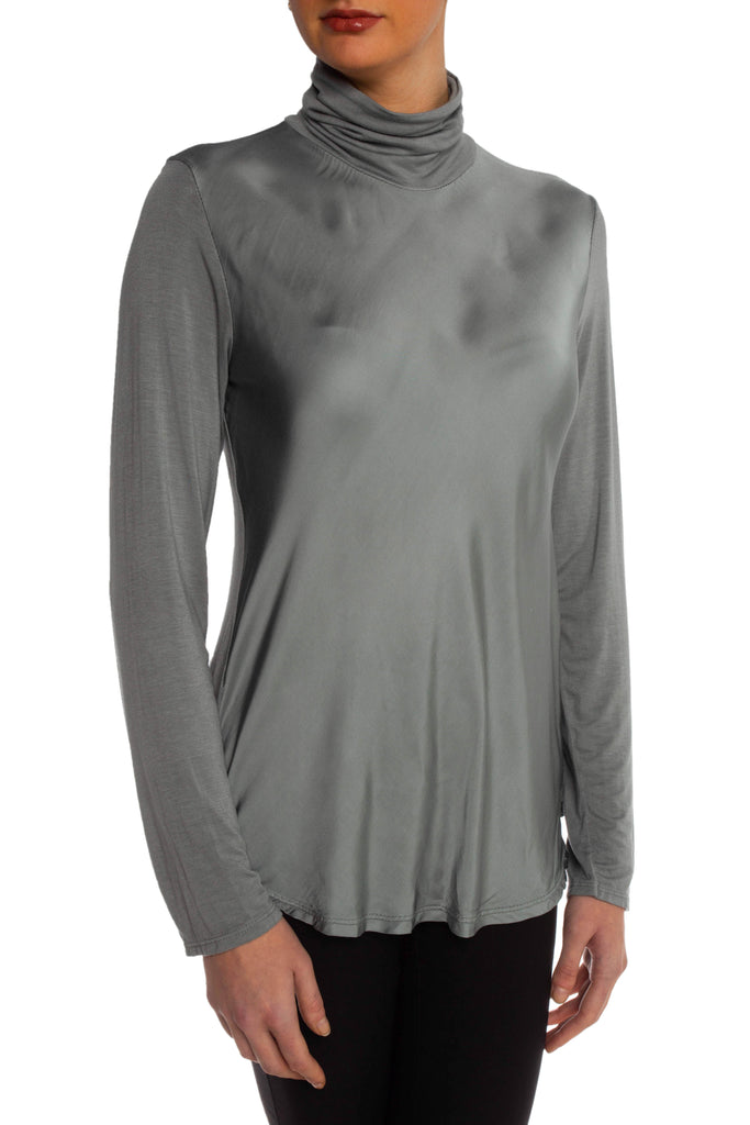 Grey Satin Turtleneck