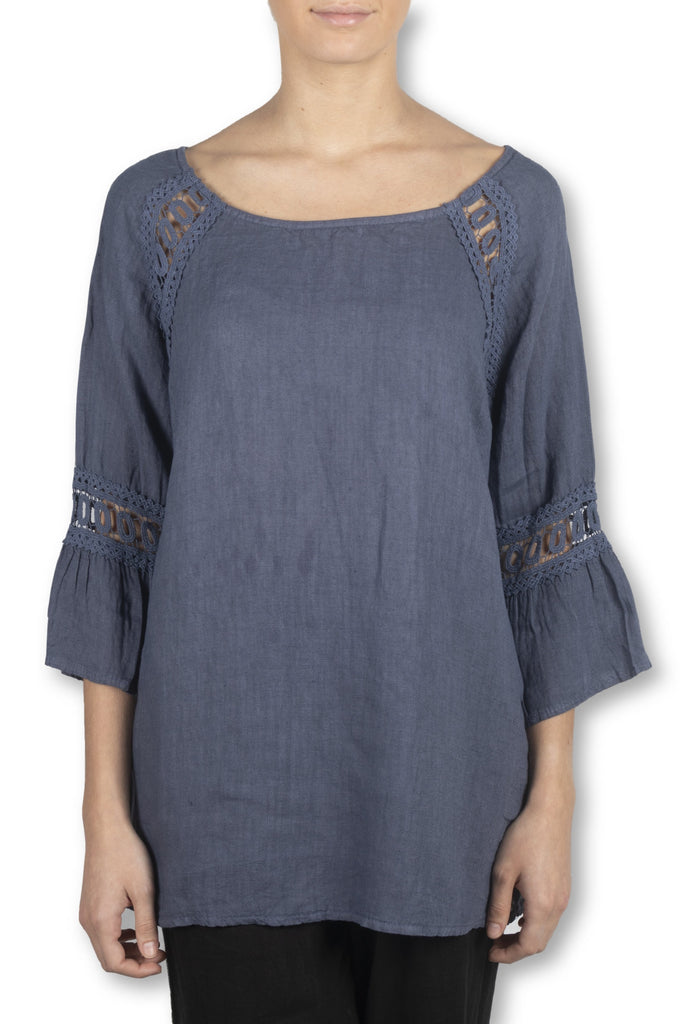 Blue Linen Bell Sleeve Top