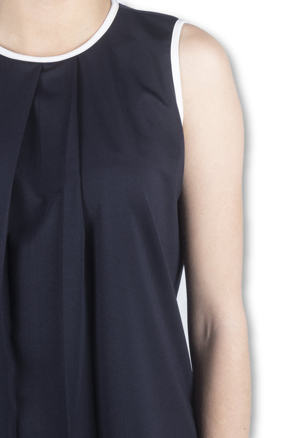 Navy Piped Sleeveless Top