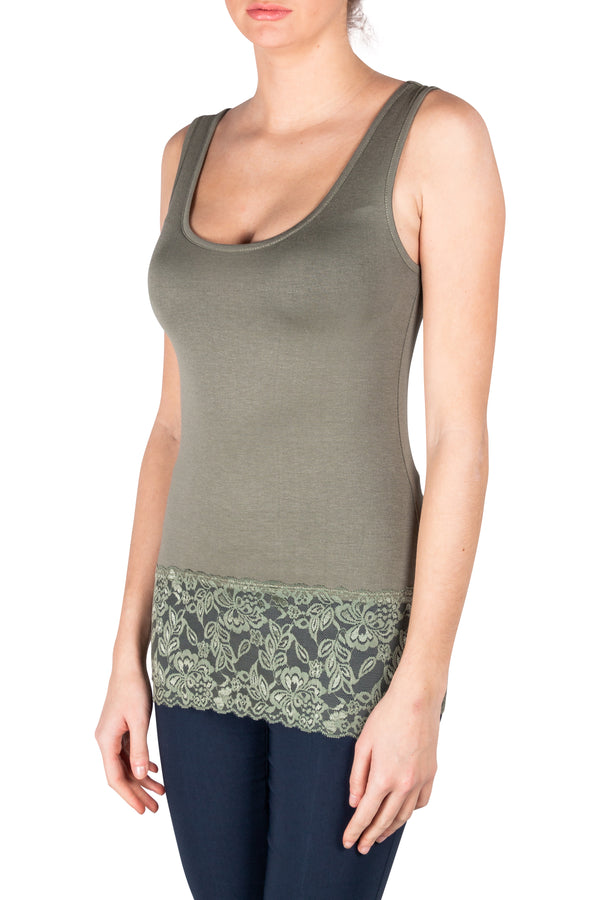 Army Green Short Lace Tank Top