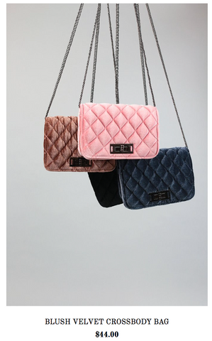 Blush Velvet Crossbody Bag- Holiday Wish List