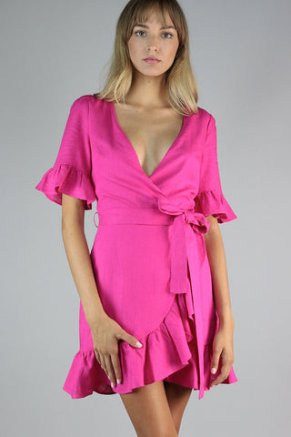 Fuchsia Wrap Summer dress | Collective Request