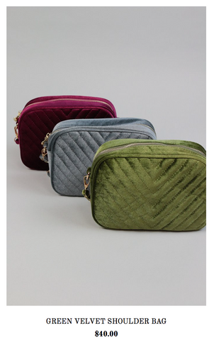 Green Velvet Shoulder Bag- Holiday Wish list