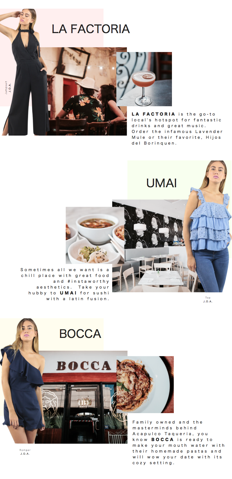 La Factoria Bar | Umai Restaurant | Bocca Restaurant