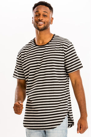 Black Grey Striped Elongated TShirt