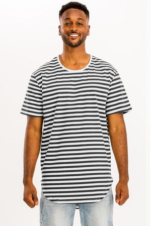 White Black Striped Elongated TShirt