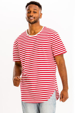 White Red Striped Elongated TShirt
