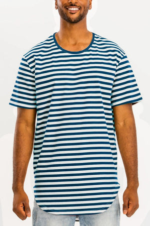 Blue White Striped Elongated TShirt
