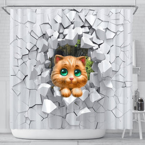 3D Cat Shower Curtain - Abby's Alley