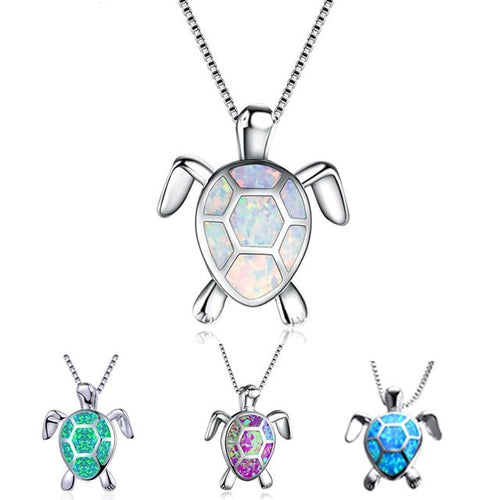 Aquastone White Fire Opal Sea Turtle Necklace - Abby's Alley