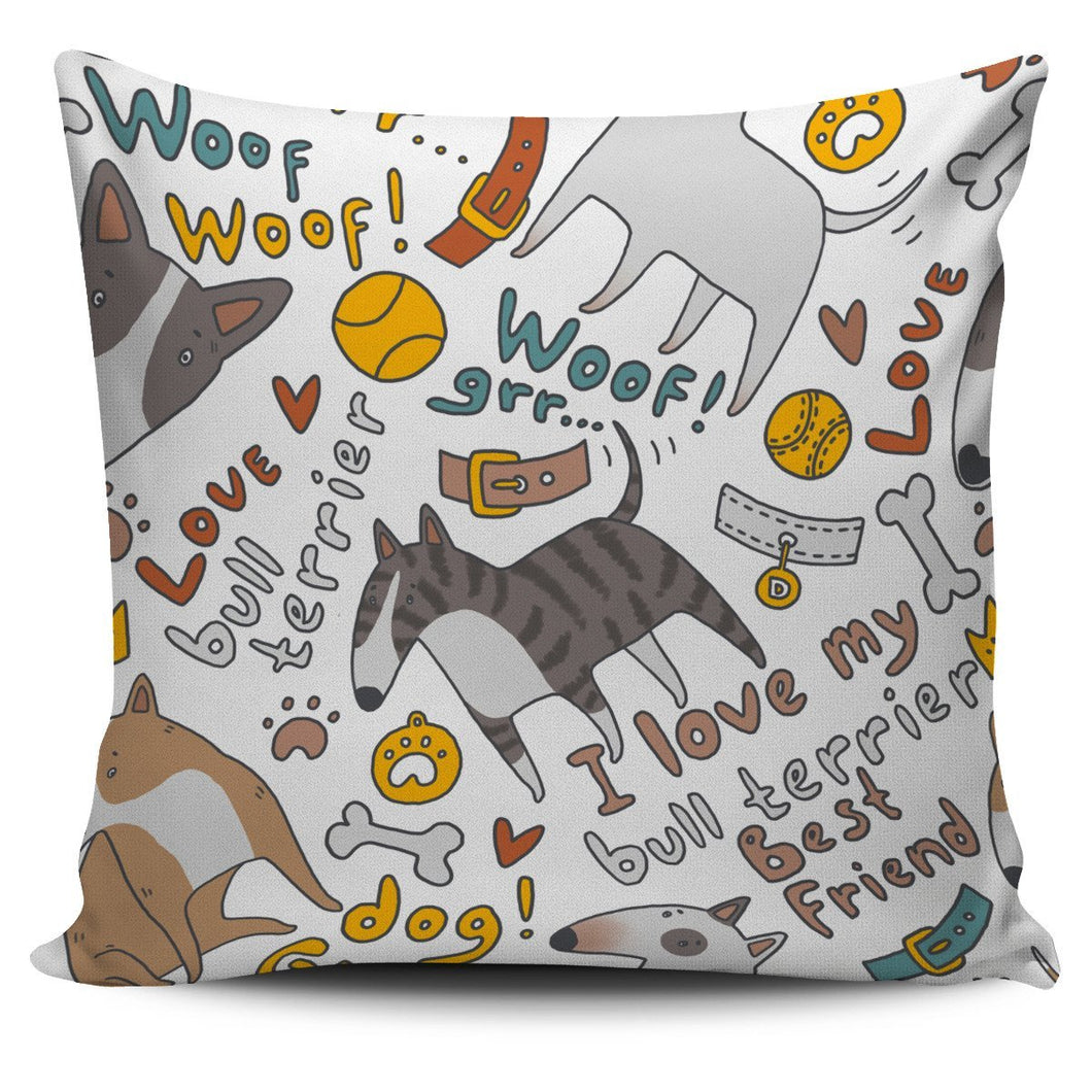 I Love My Bull Terrier Pillow Cover - Abby's Alley