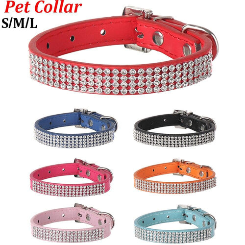 Leather Rhinestone Diamante Dog Collar - Abby's Alley