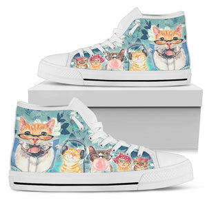 Light Blue Cats Women's High Top - Abby's Alley
