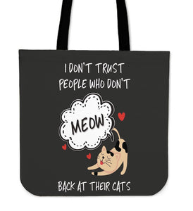 NP Meow Back At Their Cats Pillowcase Tote Bag - Abby's Alley