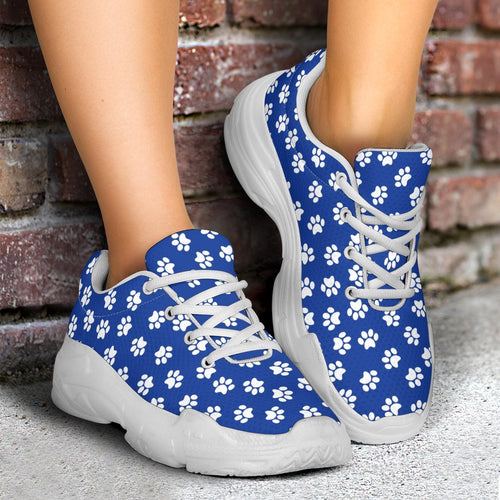 Paw Print Blue Chunky Sneakers (White) - Abby's Alley