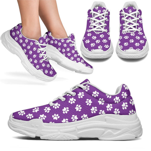 Paw Print Purple Chunky Sneakers (White) - Abby's Alley