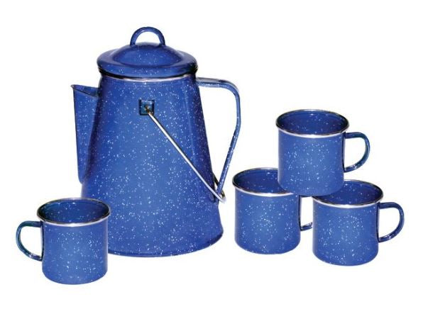Enamel 8-cup Coffee Pot with Percolator and Four 12 oz Mugs