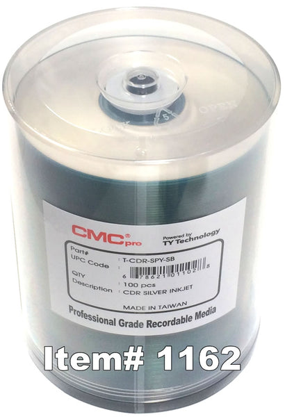 CMC Pro (TY) CD-R 80 Silver Inkjet Printable, 100-Pack