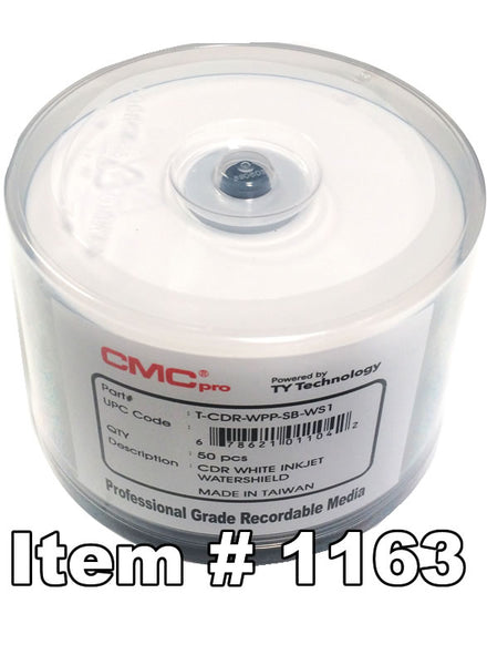 CMC Pro (TY) WaterShield CD-R Glossy White Inkjet Printable, 50-Pack
