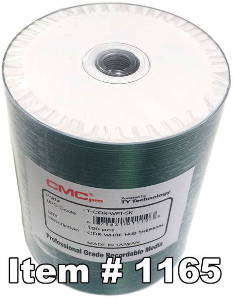 CMC Pro (TY) CD-R Everest White Thermal Hub Printable, 100-Pack