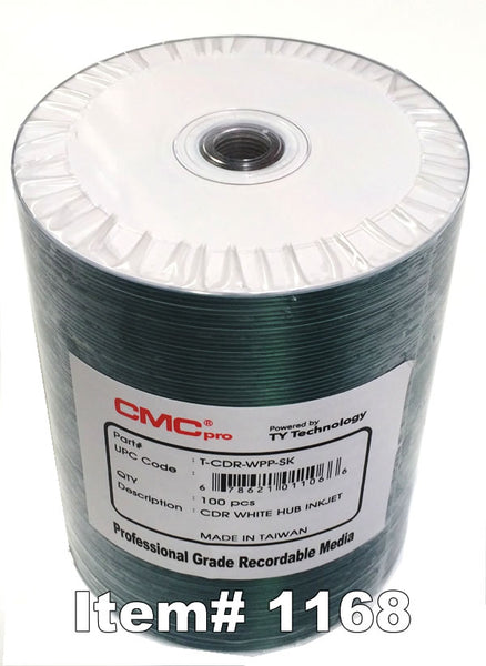 CMC Pro (TY) CD-R 80 White Inkjet Hub Printable, 100-Pack