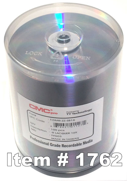 CMC Pro (TY)  DVD-R 4.7GB 16X Silver Lacquer, 100-Pack