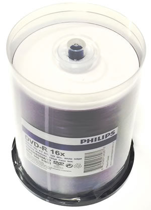 Philips DVD-R 4.7GB 16X White Inkjet Hub Printable, 100-Pack