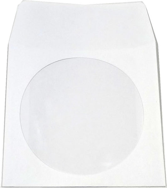 CD Paper Sleeve with a glassine window, 100-Pack