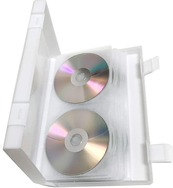 CD/DVD Media Plastic Wallet With Outer Sleeve - White - 48 Disc Capacity