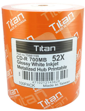 Titan CD-R 80 Glossy White Inkjet Hub Printable, 100-Pack
