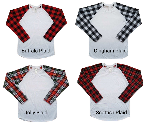 TODDLER Unisex 100% Polyester White Body Plaid Sleeve Raglan