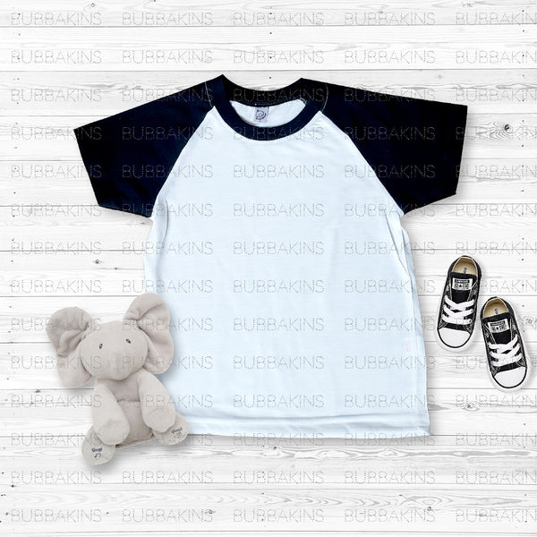 Infant Mockup - Short Sleeve Black Raglan