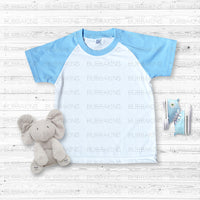 Infant Mockup - Short Sleeve Light Blue Raglan